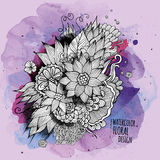 Vector watercolor paint abstract floral design Royalty Free Stock Image