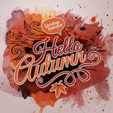 Vector watercolor paint autumn typographic design Royalty Free Stock Image