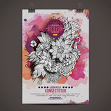 Vector watercolor paint floral poster Stock Photos