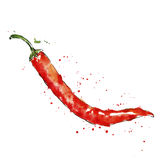 Vector watercolor red chili pepper Stock Photos