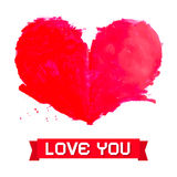 Vector Watercolor Red Heart Stock Photo