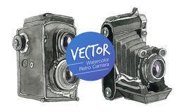 Vector Watercolor Retro Camera. This is Vector illustration. it's retro camera and made from watercolor painting Stock Images