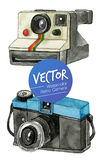 Vector Watercolor Retro Camera. This is Vector illustration. it's retro camera and made from watercolor painting Stock Photo