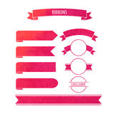 Vector watercolor ribbons banners with wine stain circle in red Stock Photos