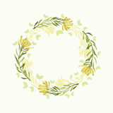 Vector watercolor round floral frame. Hand draw herbal border Stock Photo