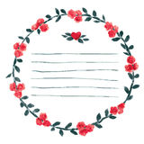 Vector watercolor round frame with roses and foliage elements. Hand draw floral border Stock Image