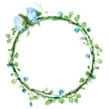 Vector watercolor round frame with roses and foliage elements. Hand draw floral border Royalty Free Stock Photography