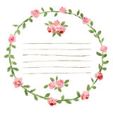Vector Watercolor Round Frame With Roses And Foliage Elements. Hand Draw Floral Border Royalty Free Stock Images