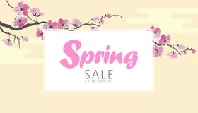 Vector watercolor sakura blossom spring sale banner template. Pink flower branch promotional poster web shop online. Seasonal background Japanese style design royalty free illustration
