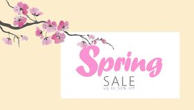 Vector watercolor sakura blossom spring sale banner template. Pink flower branch promotional poster web shop online. Seasonal background Japanese style design vector illustration