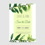 Vector watercolor save the date card in nature style with olive branch. Stock Photos