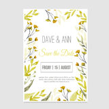 Vector watercolor save the date card in rustic style with green leaves on craft paper. Stock Images