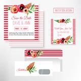 Vector watercolor save the date card in rustic style with green leaves and flowers. Stock Photography