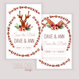 Vector watercolor save the date cards with deer Royalty Free Stock Photo