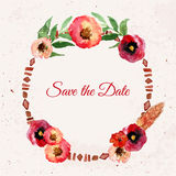 Vector watercolor save the date floral wreath with vintage leaves and flowers. Artistic  design for banners, greeting cards, Royalty Free Stock Photography