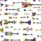 Vector watercolor seamless design with arrows in ethnic style Stock Photos