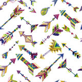 Vector watercolor seamless design with arrows in ethnic style Royalty Free Stock Images
