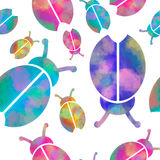 Vector watercolor seamless pattern with colorful Royalty Free Stock Photo