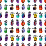 Vector watercolor seamless pattern with colorful rainbow pinapple and black hand-drawn elements. On white background Stock Photography