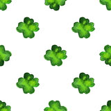 Vector watercolor seamless pattern. Watercolor seamless pattern with four leaf clover. Vector graphic design elements isolated on white background. Spring Stock Illustration