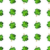 Vector watercolor seamless pattern. Watercolor seamless pattern with four leaf clover. Vector graphic design elements isolated on white background. Spring Vector Illustration