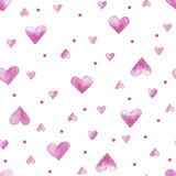 Vector watercolor seamless pattern with hearts Stock Photo