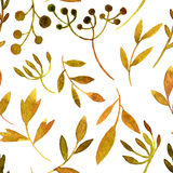 Vector watercolor seamless pattern with leaves and branches Royalty Free Stock Photos