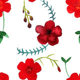 Vector watercolor seamless pattern with red flowers and leaves vector illustration