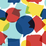 Vector watercolor seamless pattern with speech bubbles. Stock Image