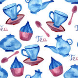 Vector Watercolor Seamless Tea Time Pattern Stock Images