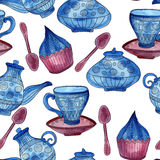 Vector Watercolor Seamless Tea Time Pattern Stock Photos