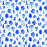 Vector watercolor seamless trees pattern. Forest surface background Royalty Free Stock Photo