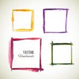 Vector watercolor set frame. Colorful texture frame. Vector handmade design elements. Vintage set of frame . Art advertising template. Grunge color frame Stock Illustration