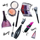 Vector watercolor set of Glamorous make up set of Royalty Free Stock Photos