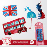 Vector watercolor set of London items with bus Stock Image
