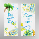 Vector watercolor set of summer banners with Stock Photo