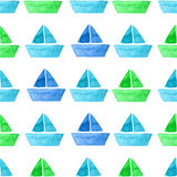 Vector watercolor ship seamless pattern Royalty Free Stock Photos