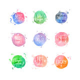 Vector watercolor shopping and vegan cafe labels Royalty Free Stock Images