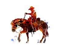 Vector watercolor silhouette cowboy on a horse. Watercolor silhouette cowboy on a horse. Vector illustration Royalty Free Stock Images