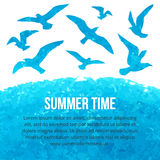 Vector watercolor silhouettes of flying seagulls Royalty Free Stock Photos