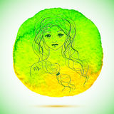 Vector watercolor and sketch illustration of beautiful woman in Virgo zodiac sign with watercolor background Royalty Free Stock Image