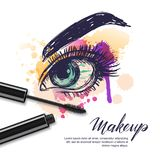 Vector watercolor sketch illustration of colorful female eye and makeup mascara. Watercolor background. Concept for beauty salon, cosmetics label, visage and Stock Photography