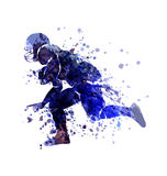 Vector watercolor Sketch Player of American Football Royalty Free Stock Image