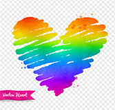Vector watercolor sketch of rainbow colored heart stock illustration