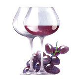 Vector watercolor sketch of wine and grapes. Royalty Free Stock Photos