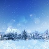 Vector Watercolor Snowy Forest Royalty Free Stock Photo