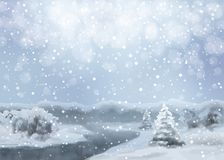 Vector Watercolor Snowy Landscape Stock Image