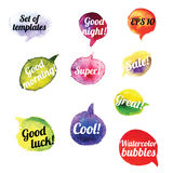 Vector Watercolor Speach Bubbles. Set of 10 pieces Stock Image