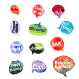 Vector Watercolor Speach Bubbles. Set of 12 pieces Royalty Free Stock Photos