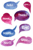 Vector Watercolor Speach Bubbles. Set with Short Phrases on Separate Layer Royalty Free Stock Photos
